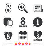 8 March Women`s Day icons. Flower, heart symbols. Stock Images