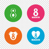 8 March Women`s Day icons. Flower, heart symbols. 8 March Women`s Day icons. Tulip or rose flower and heart sign symbols. Round buttons on transparent Royalty Free Stock Photos