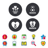 8 March Women`s Day icons. Flower, heart symbols. 8 March Women`s Day icons. Tulips or rose flowers bouquet and heart sign symbols. Calendar, Information and royalty free illustration