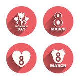 8 March Women's Day icons. Flower, heart symbols. 8 March Women's Day icons. Tulips or rose flowers bouquet and heart sign symbols. Pink circles flat buttons vector illustration