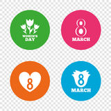 8 March Women`s Day icons. Flower, heart symbols. 8 March Women`s Day icons. Tulips or rose flowers bouquet and heart sign symbols. Round buttons on transparent Royalty Free Stock Images