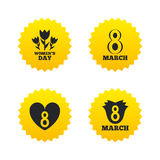 8 March Women's Day icons. Flower, heart symbols. 8 March Women's Day icons. Tulips or rose flowers bouquet and heart sign symbols. Yellow stars labels with flat vector illustration