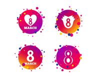 8 March Women`s Day icons. Flower, heart symbols. Vector. 8 March Women`s Day icons. Tulip or rose flower and heart sign symbols. Gradient circle buttons with vector illustration