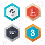 8 March Women's Day icons. Flowers symbols Royalty Free Stock Images