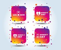 8 March Women`s Day icons. Flowers symbols. 8 March Women`s Day icons. Tulips or rose flowers bouquet and heart sign symbols. Colour gradient square buttons vector illustration