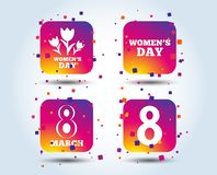 8 March Women`s Day icons. Flowers symbols. 8 March Women`s Day icons. Tulips or rose flowers bouquet sign symbols. Colour gradient square buttons. Flat design royalty free illustration