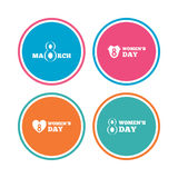 8 March Women`s Day icons. Flowers symbols. 8 March Women`s Day icons. Tulips or rose flowers bouquet and heart sign symbols. Colored circle buttons. Vector stock illustration