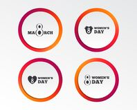 8 March Women`s Day icons. Flowers symbols. 8 March Women`s Day icons. Tulips or rose flowers bouquet and heart sign symbols. Infographic design buttons. Circle Royalty Free Stock Image