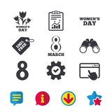 8 March Women`s Day icons. Flowers symbols. 8 March Women`s Day icons. Tulips or rose flowers bouquet sign symbols. Browser window, Report and Service signs Stock Photo