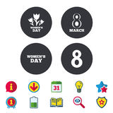 8 March Women`s Day icons. Flowers symbols. 8 March Women`s Day icons. Tulips or rose flowers bouquet sign symbols. Calendar, Information and Download signs vector illustration