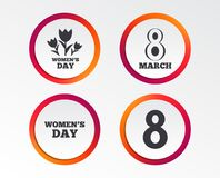 8 March Women`s Day icons. Flowers symbols. 8 March Women`s Day icons. Tulips or rose flowers bouquet sign symbols. Infographic design buttons. Circle templates vector illustration