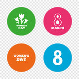 8 March Women`s Day icons. Flowers symbols. 8 March Women`s Day icons. Tulips or rose flowers bouquet sign symbols. Round buttons on transparent background Stock Image