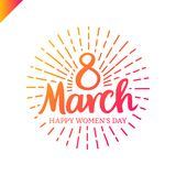 8 march Women`s Day lettering with sun line in circle. Template greeting vintage card or poster. 8 march Women`s Day lettering with sun line in circle. Template stock illustration