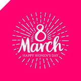 8 march Women`s Day lettering with sun line in circle. Template greeting vintage card or poster. Royalty Free Stock Photos