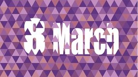March 8 Women`s Day. NMarch 8 Women`s Day npurple Celebration card Royalty Free Stock Photos