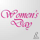March 8 Women`s Day. Purple inscription on a gray background Stock Photos