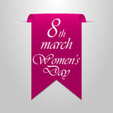 March 8 Women`s Day. Purple Label on a gray background Royalty Free Stock Photo