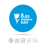 8 March Women`s Day sign icon. Flower symbol. Copy files, chat speech bubble and chart web icons. Vector Royalty Free Stock Photography