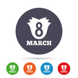 8 March Women`s Day sign icon. Flower symbol. Round colourful buttons with flat icons. Vector Stock Photo