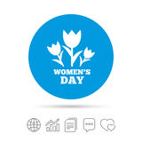 8 March Women`s Day sign icon. Flowers symbol. Copy files, chat speech bubble and chart web icons. Vector Royalty Free Stock Photos