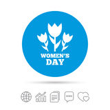 8 March Women`s Day sign icon. Flowers symbol. Copy files, chat speech bubble and chart web icons. Vector Royalty Free Stock Photography