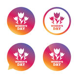 8 March Women's Day sign icon. Flowers symbol. Gradient buttons with flat icon. Speech bubble sign. Vector Stock Photography