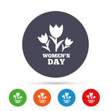 8 March Women`s Day sign icon. Flowers symbol. Round colourful buttons with flat icons. Vector Royalty Free Stock Photo