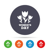 8 March Women`s Day sign icon. Flowers symbol. Round colourful buttons with flat icons. Vector Royalty Free Stock Photography