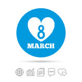 8 March Women`s Day sign icon. Heart symbol. Copy files, chat speech bubble and chart web icons. Vector Royalty Free Stock Image