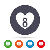 8 March Women`s Day sign icon. Heart symbol. Round colourful buttons with flat icons. Vector Royalty Free Stock Images