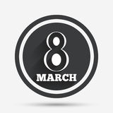 8 March Women's Day sign icon. Holiday symbol. Circle flat button with shadow and border. Vector Stock Image