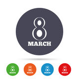 8 March Women`s Day sign icon. Holiday symbol. Round colourful buttons with flat icons. Vector Stock Images