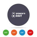 8 March Women`s Day sign icon. Holiday symbol. Round colourful buttons with flat icons. Vector Royalty Free Stock Image