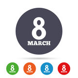 8 March Women`s Day sign icon. Holiday symbol. Round colourful buttons with flat icons. Vector Stock Image