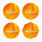 8 March Women's Day sign icon. Holiday symbol. Triangular low poly buttons with flat icon. Vector Stock Images