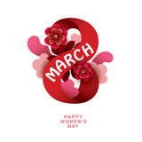 8 March Women`s Day sign. Vector greeting card template Stock Photography