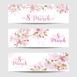 8 March - Women's Day Spring Banners. 8 March - Women's Day Greeting Card Template - Spring Banner - in vector royalty free illustration