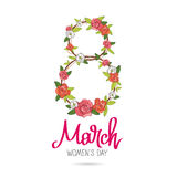 March 8 - Women`s Day. The trend calligraphy. Vector illustration on white background. Great holiday gift card. Arrangement of roses in a figure of 8 Royalty Free Stock Image