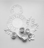 8 march, women`s day. A white napkin and white paper flowers Royalty Free Stock Image
