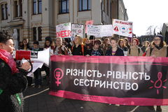 March of Women`s Solidarity. KHARKIV, UKRAINE - MARCH 8, 2017: March of Women`s Solidarity Against Gender Inequality Royalty Free Stock Photos