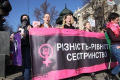 March of Women`s Solidarity. KHARKIV, UKRAINE - MARCH 8, 2017: March of Women`s Solidarity Against Gender Inequality Stock Image