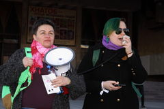 March of Women`s Solidarity. KHARKIV, UKRAINE - MARCH 8, 2017: March of Women`s Solidarity Against Gender Inequality Royalty Free Stock Photography