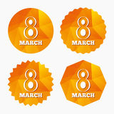 8 March Women& x27;s Day sign icon. Holiday symbol. Stock Image