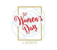 8 March. Womens day background. Vector typography, text design. Usable for banners, invitations, greeting cards gifts etc royalty free illustration
