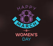 8 March. Womens day background. Vector typography, text design. Usable for banners, invitations, greeting cards gifts etc stock illustration