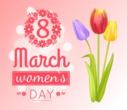 8 March Womens Day Banner Vector Illustration. 8 March Womens Day, banner with celebration to ladies, poster with headline and tulips, bokeh and decoration Royalty Free Stock Photography