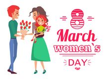 8 March Womens Day Banner Vector Illustration. 8 March womens day, banner with woman and man giving bouquet of flowers, daughter and family moments, shape of Royalty Free Illustration