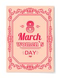 8 March Womens Day Best Wish Postcard Swirly Frame. 8 March Womens Day best wishes postcard with big sign and swirly frame. 8 March card in bright pink color Royalty Free Stock Photo
