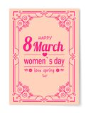 8 March Womens Day Best Wish Postcard Swirly Frame. 8 March Womens Day best wishes postcard with big sign and swirly frame. 8 March card in bright pink color Vector Illustration