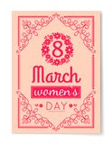 8 March Womens Day Best Wish Postcard Swirly Frame. 8 March Womens Day best wishes postcard with big sign and swirly frame. 8 March card in bright pink color Stock Illustration